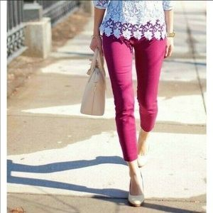 J.Crew fuchsia Minnie ankle pants, size 8